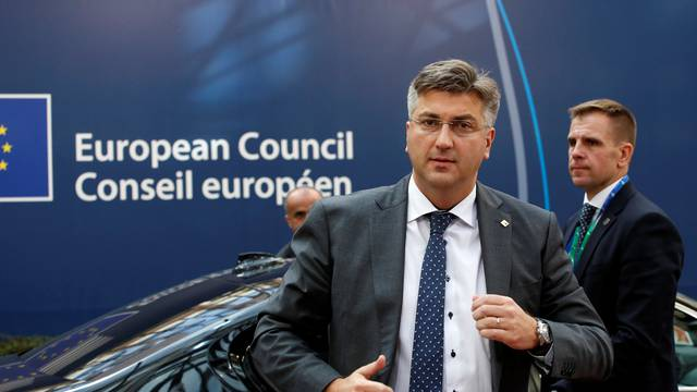 Croatian Prime Minister Andrej Plenkovic arrives at a EU summit at the European Council headquarters in Brussels