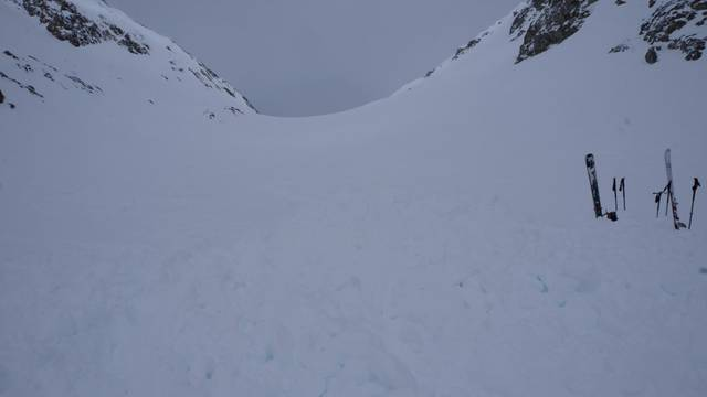 The avalanche site in Bernese Alps, where Germanskiers died, is pictured in Fieschertal