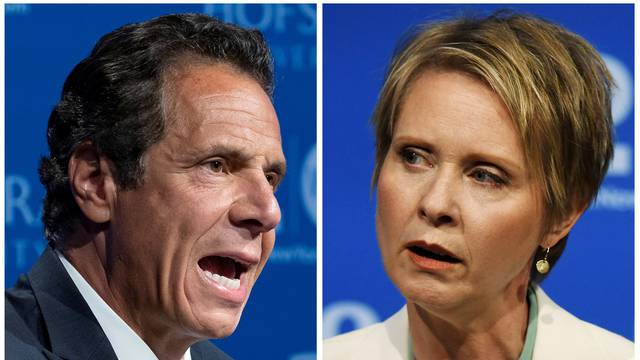 FILE PHOTO: A combination photo of Governor Andrew M. Cuomo and actress and activist Cynthia Nixon, a first-time candidate mounting a challenge, are shown during a televised debate in Hempstead, New York