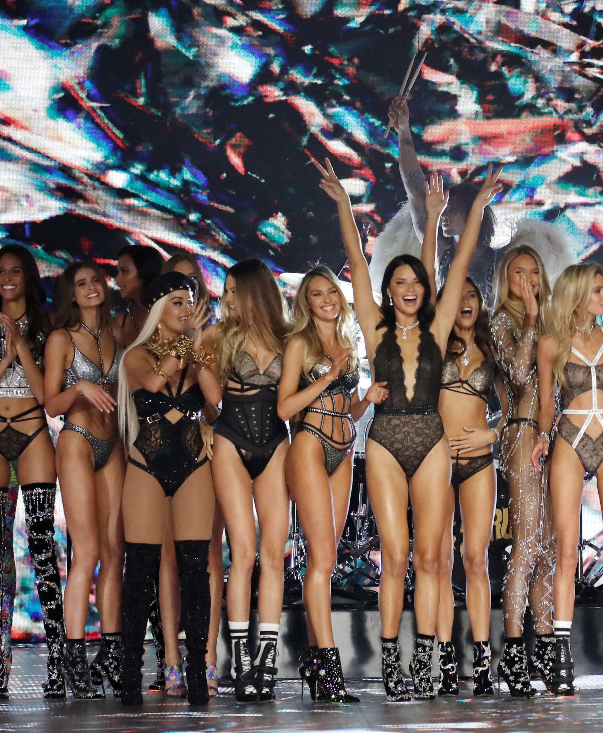 Model Adriana Lima and other models present creations during the 2018 Victoria's Secret Fashion Show in New York City