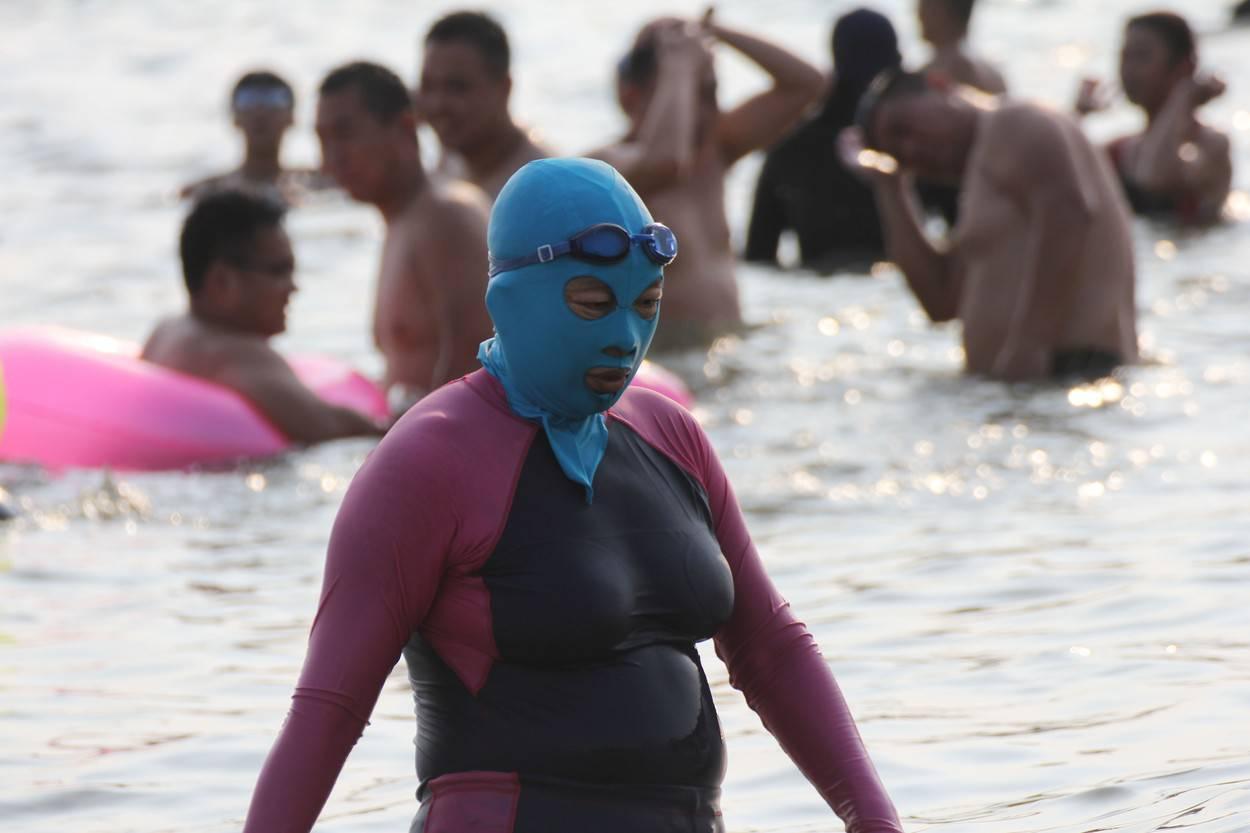 Women wearing Facekini