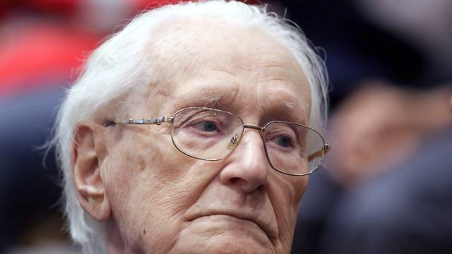 """FILE PHOTO: Oskar Groening, defendant and former Nazi SS officer dubbed the """"bookkeeper of Auschwitz"""", is pictured in the courtroom during his trial in July 2015"""