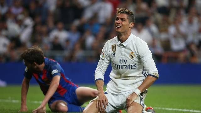 Real Madrid's Cristiano Ronaldo looks dejected after missing a chance to score