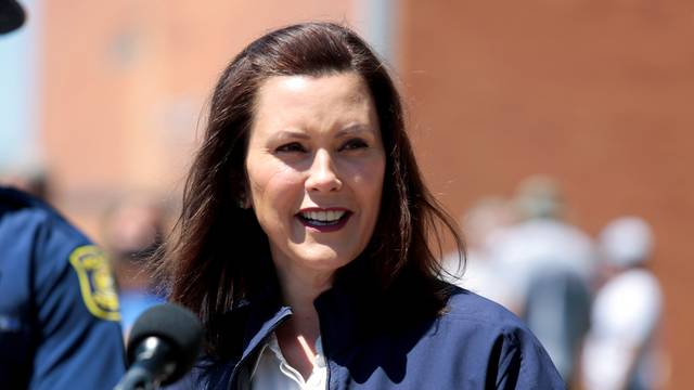 FILE PHOTO: Michigan Governor Gretchen Whitmer addresses the media about a state flooding issue in May 2020