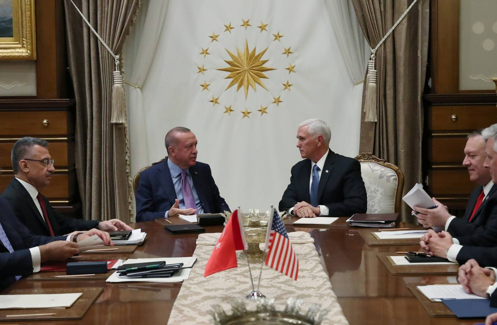 Turkish President Erdogan meets with U.S. Vice President Pence at the Presidential Palace in Ankara