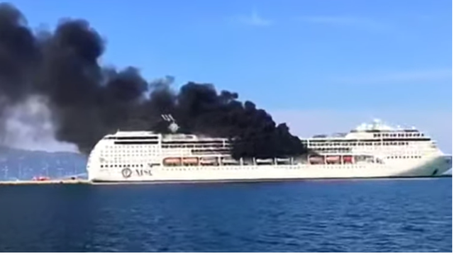 Gori kruzer ispred luke Krf u Grčkoj: Posada je na sigurnom
