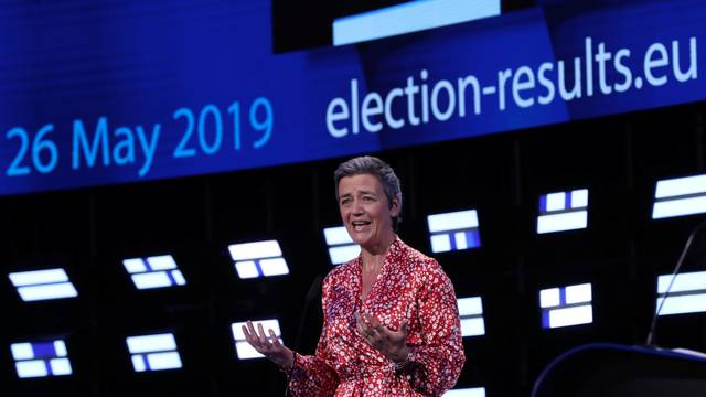 EU Competition Commissioner MargretheVestager speaks during the final estimation of the results of the European Parliament election in Brussels