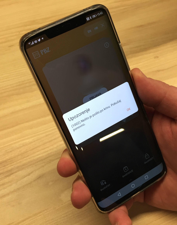 Mobilno bankarstvo ne radi,  u PBZ-u kažu da rješavaju kvar