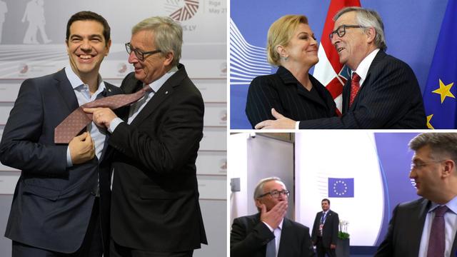 Osebujni Juncker: Grli, ljubi i štipa kolege, tetura, posrće...