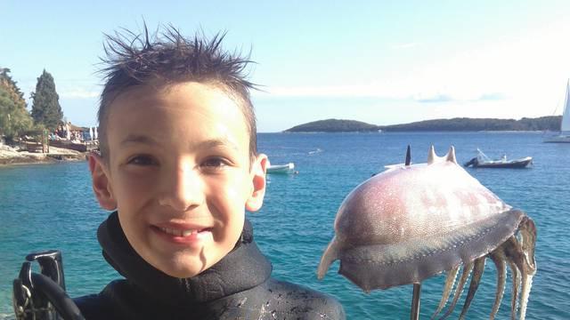Toni od prve godine pliva, a od treće roni i lovi hobotnice