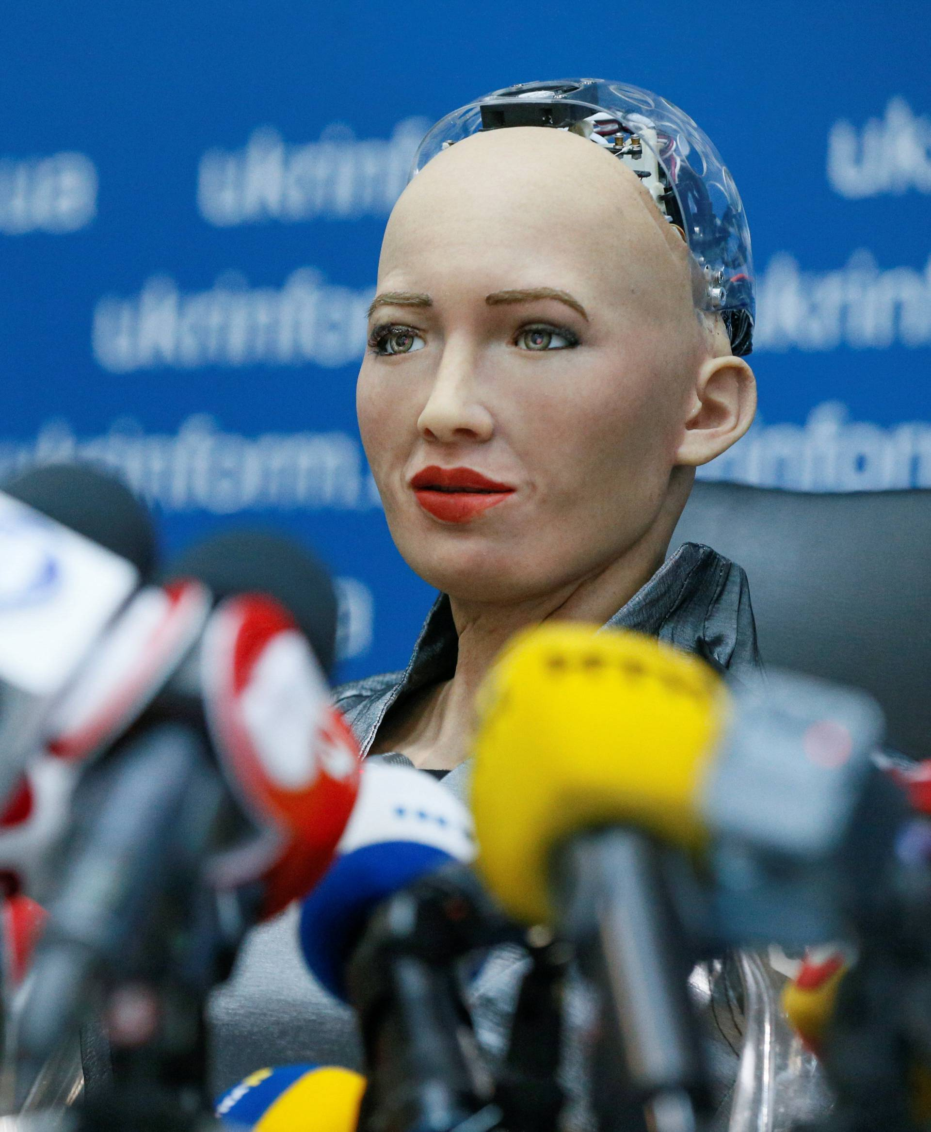 Social humanoid robot Sophia attends a news conference in Kiev
