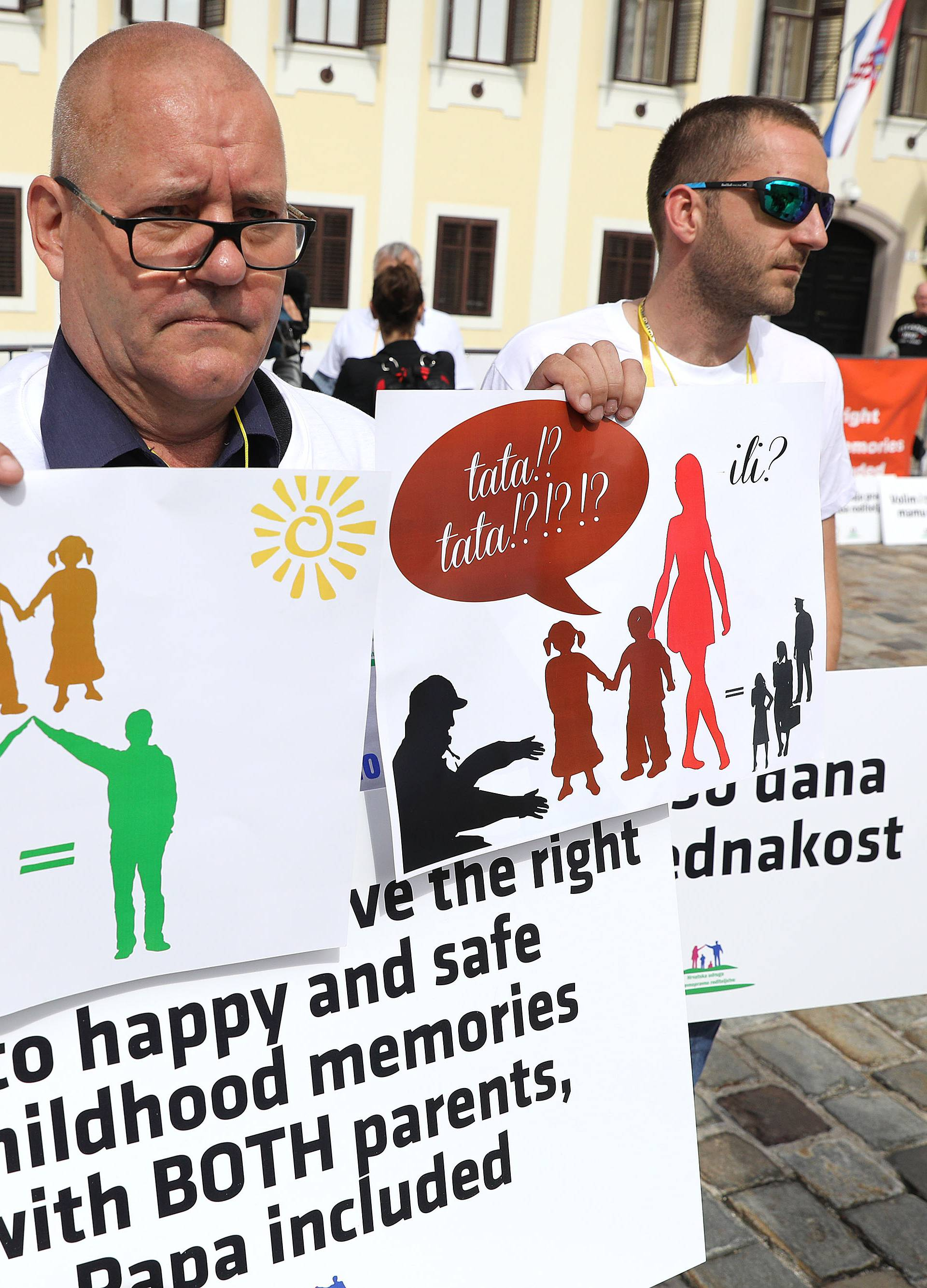 Očevi prosvjedovali na Markovu trgu: 'Uskratili su nam prava'
