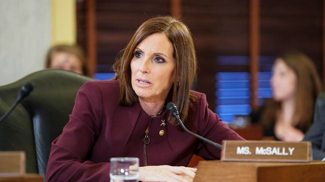U.S. Senator McSally speaks during Senate Armed Services Subcommittee hearing on preventing sexual assault on Capitol Hill in Washington