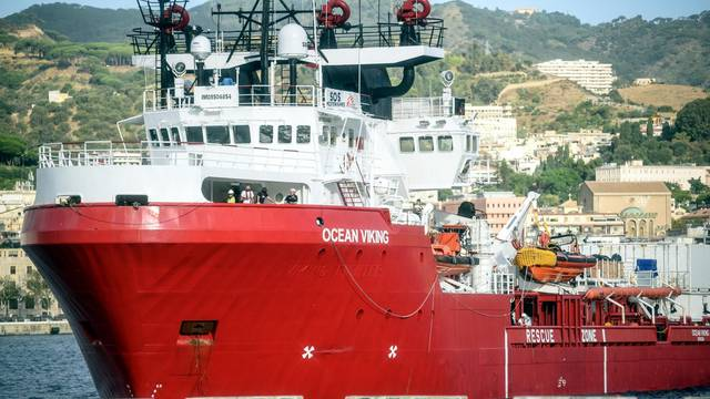 Landing of the Ocean Viking ship, with 182 migrants, at the port of Messina