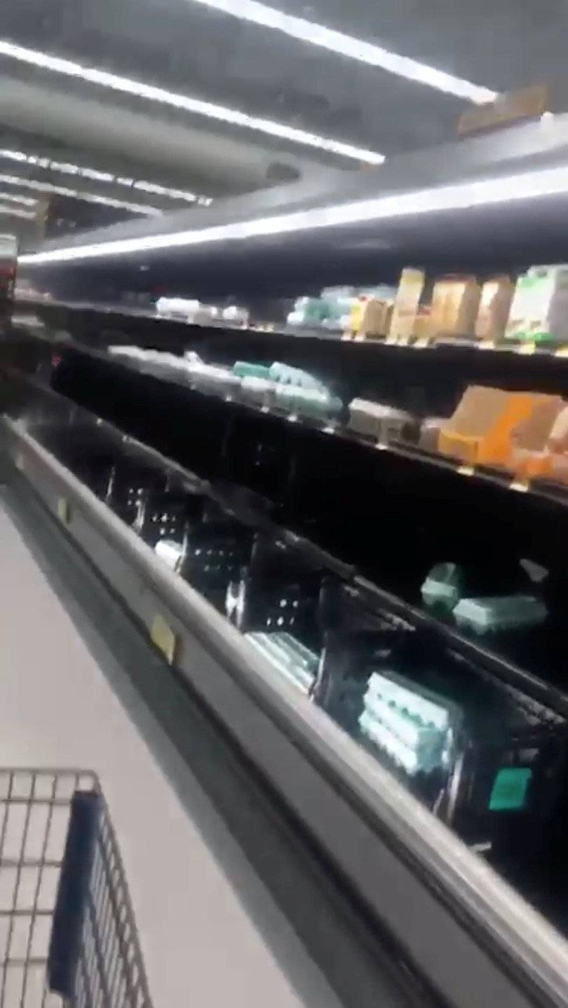 Half empty shelves are seen at a supermarket as residents prepare for Storm Florence's descent in Columbia, South Carolina