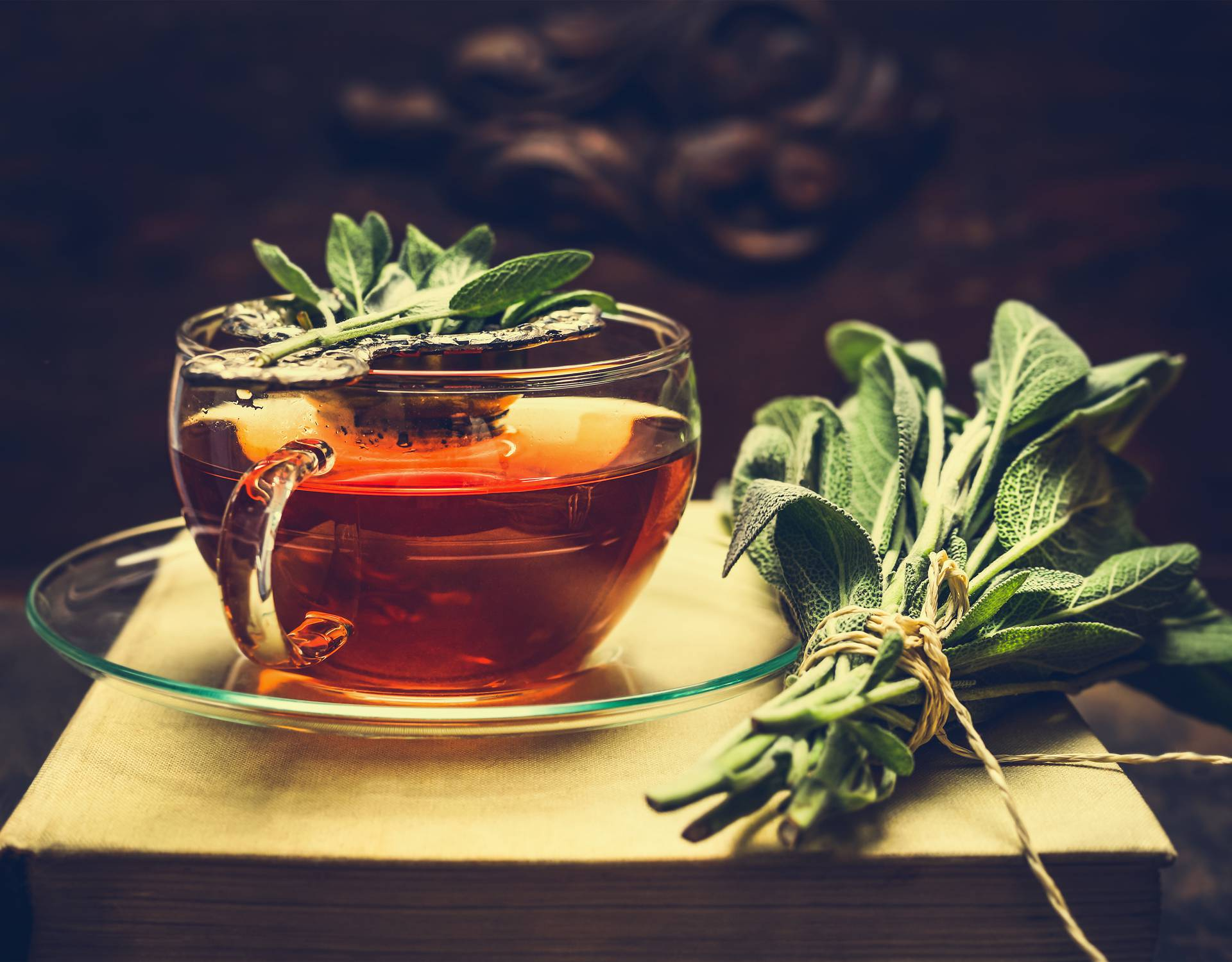 Herbal tea made from sage in glass cup