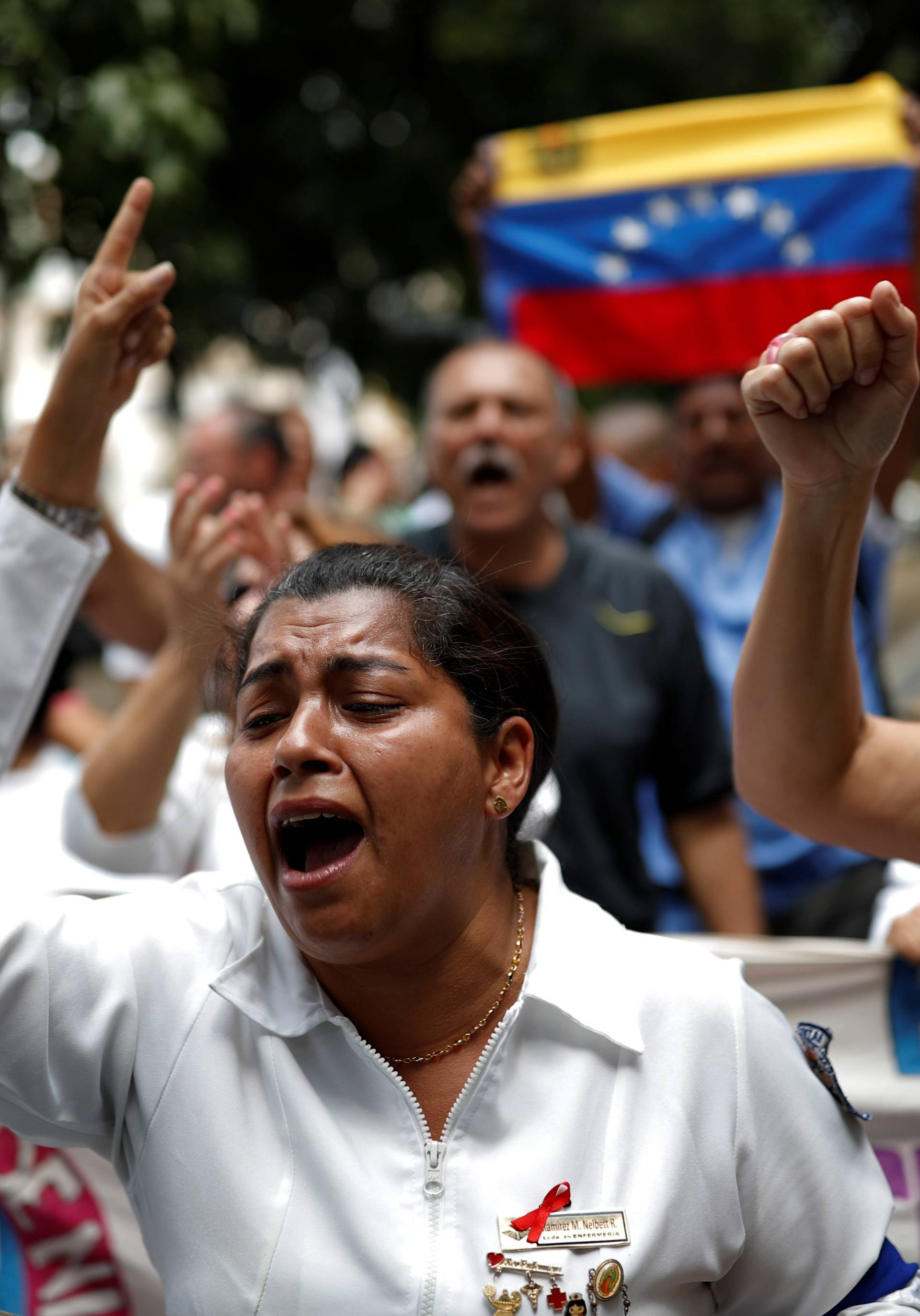 Protest of workers of the health sector in Caracas
