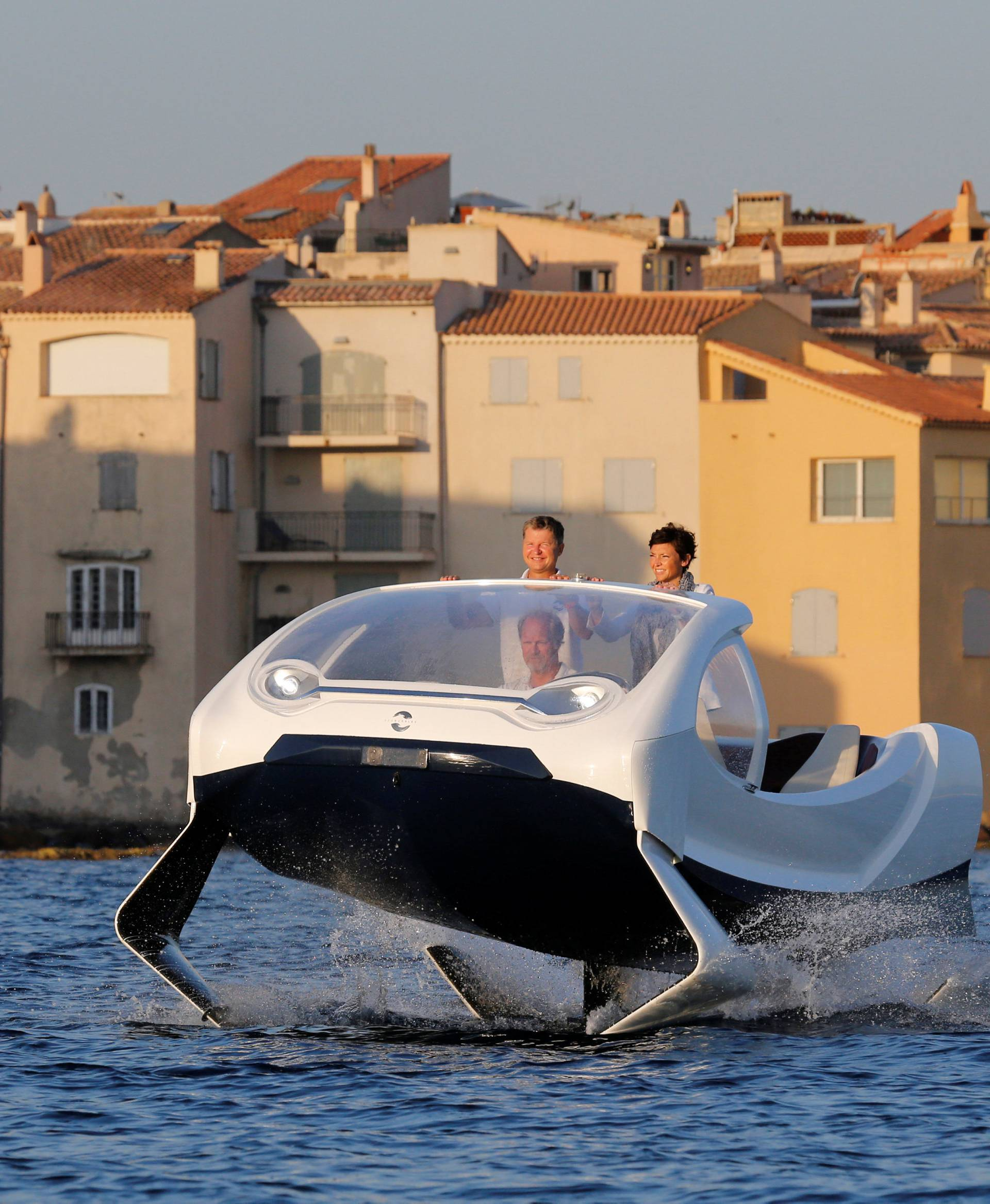 SeaBubbles' water taxi prototype is presented in the harbour of Saint-Tropez