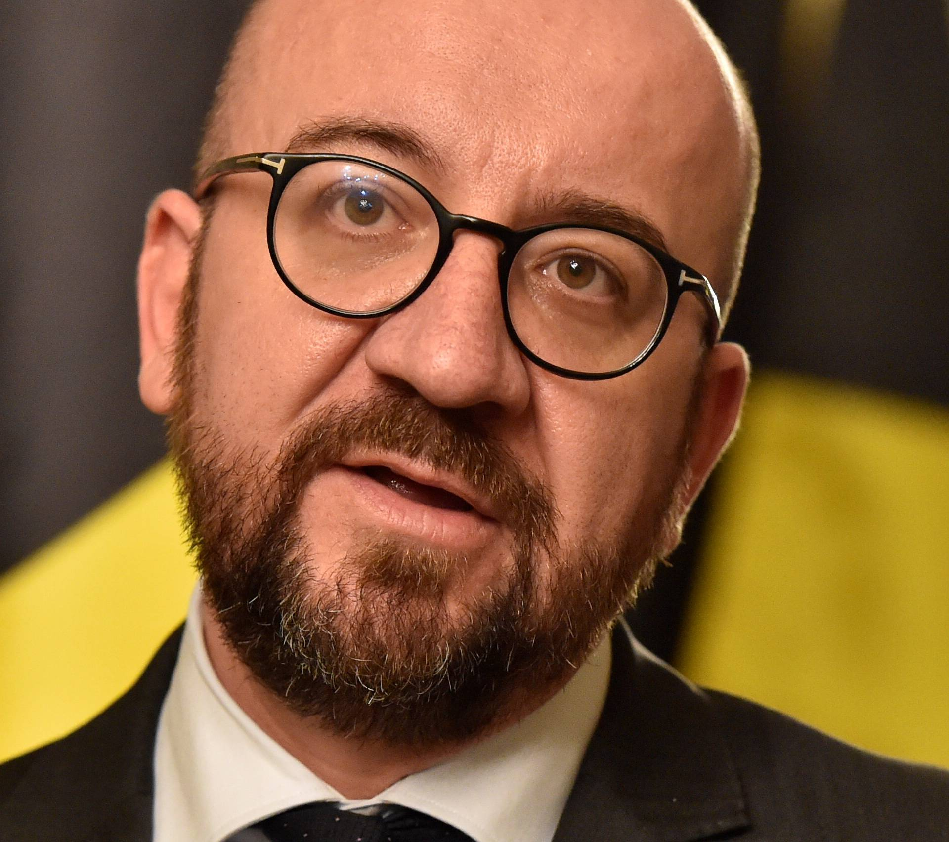 Belgium's Prime Minister Charles Michel holds a news conference in Brussels