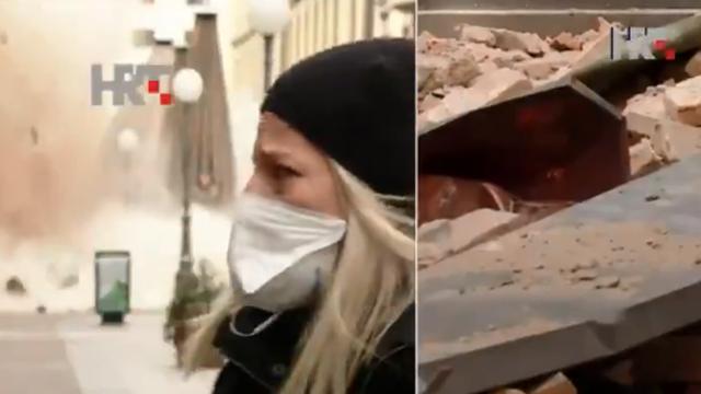 Novinarka ostala hladna dok se iza nje rušila zgrada u Zagrebu
