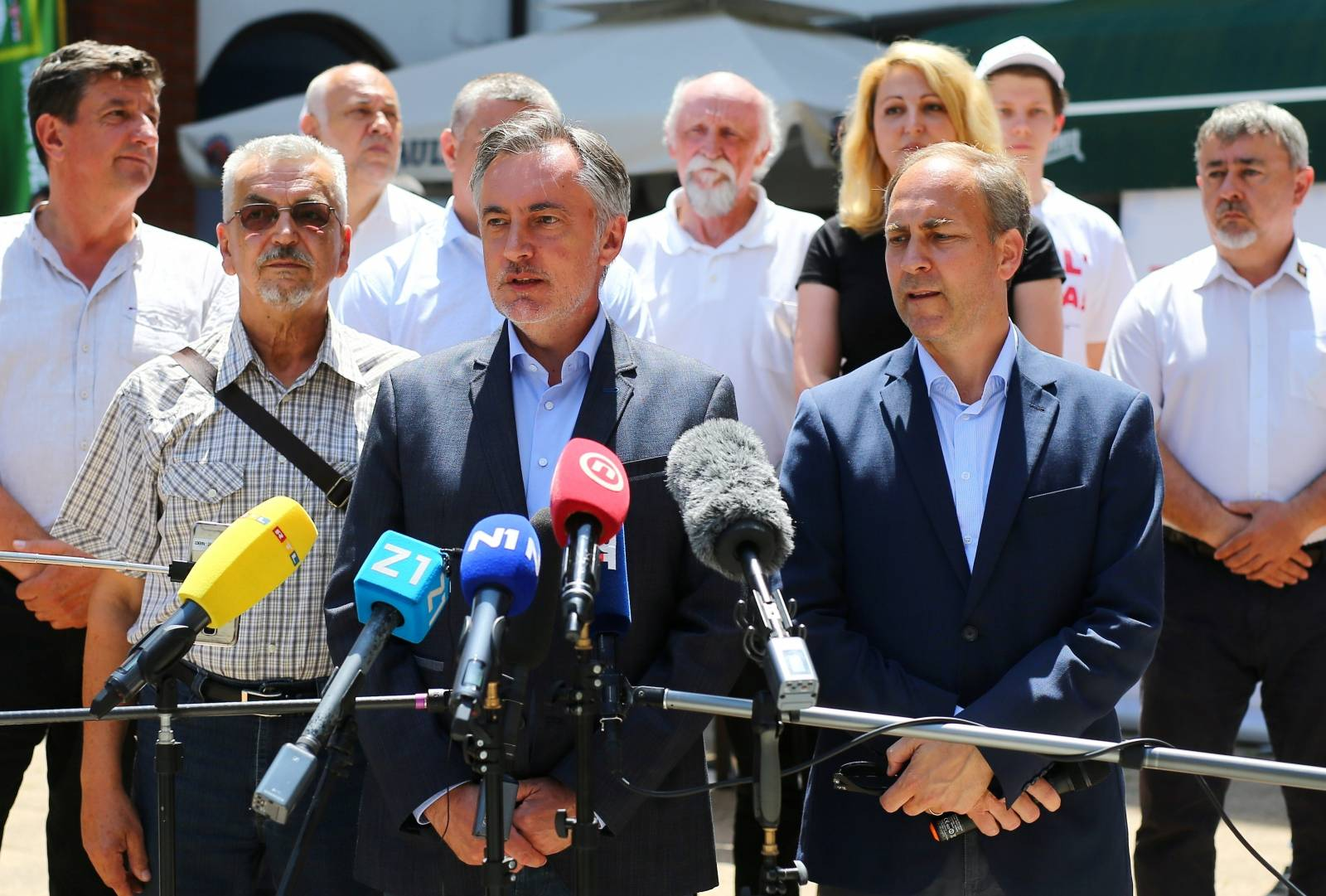 Miroslav Skoro, leader of the Homeland Movement party, talks to media during an election rally in Velika Gorica