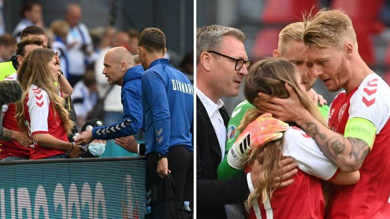 Eriksenova supruga izvan sebe istrčala na teren, zaštitari ju zaustavili da ne otrči do njega