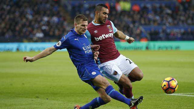 West Ham United's Dimitri Payet in action with Leicester City's Marc Albrighton