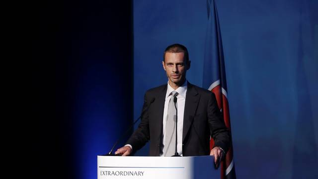 President of the Football Association of Slovenia and candidate for the UEFA presidency Aleksander Ceferin delivers a speech before the election for the new UEFA President in Athens