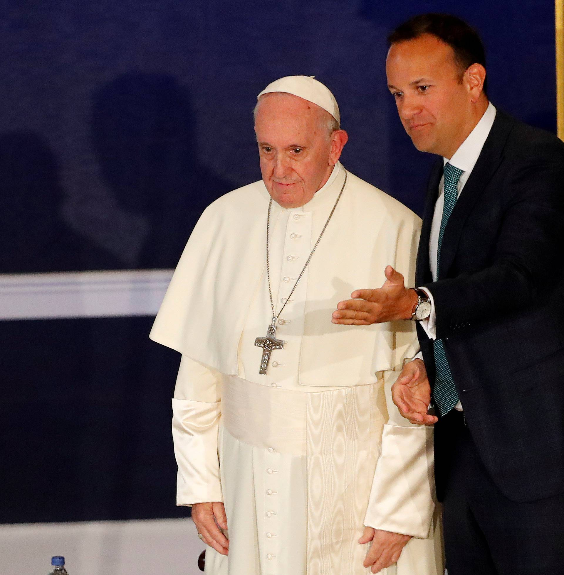 Pope Francis is welcomed by Taoiseach Leo Varadkar at Dublin Castle during his visit to Dublin