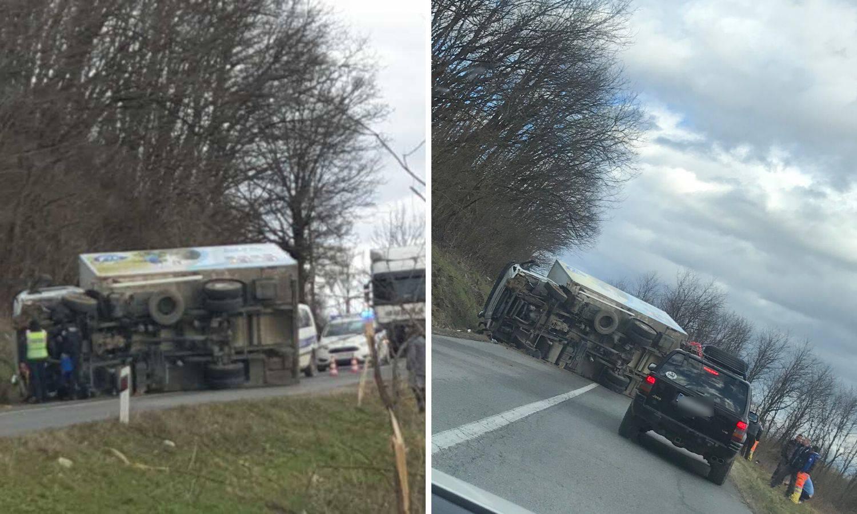 Opasna brzina: Prevrnuo se kamion, nitko nije ozlijeđen