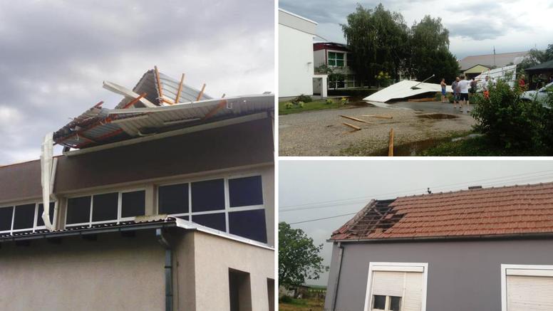 Jak vjetar ruši krovove: Palo je i krovište sa škole u Pitomači