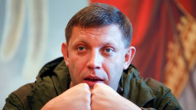 FILE PHOTO: Zakharchenko, separatist leader of the self-proclaimed Donetsk People's Republic, speaks to the media during a visit to Makeevskiy coking plant in Makiivka