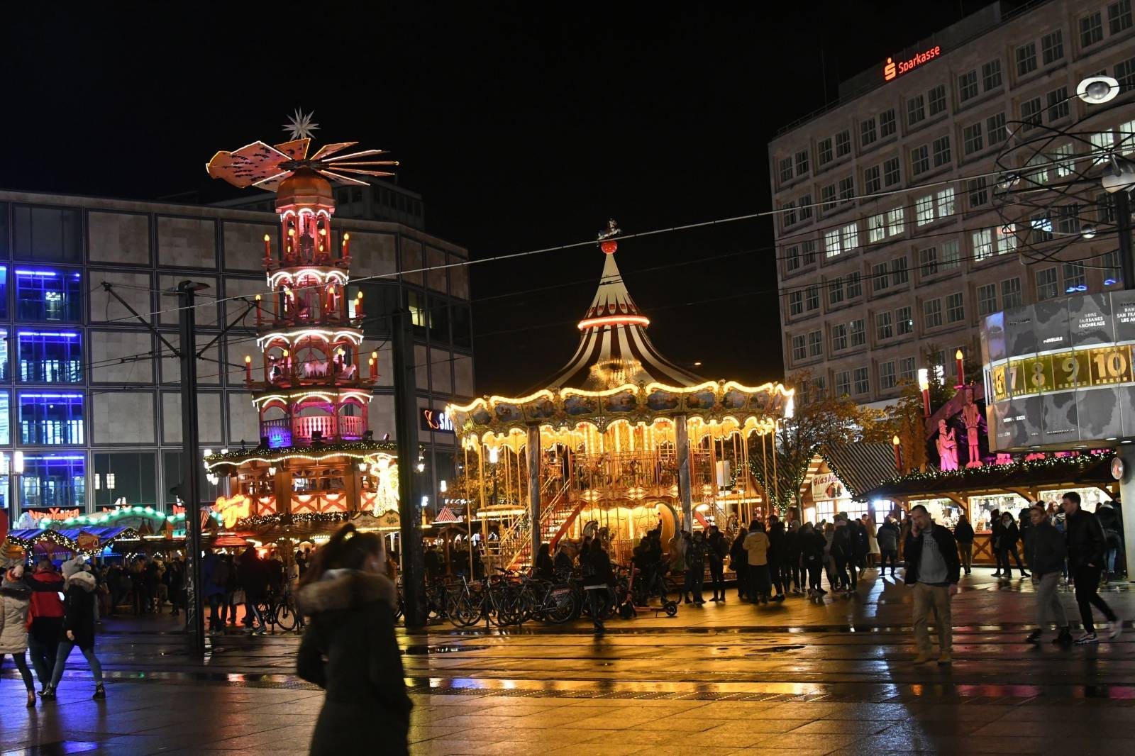 Alex, Alexanderplatz,  in Berlin at night