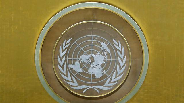 FILE PHOTO: The United Nations logo is seen in the U.N. General Assembly hall at U.N. headquarters in New York