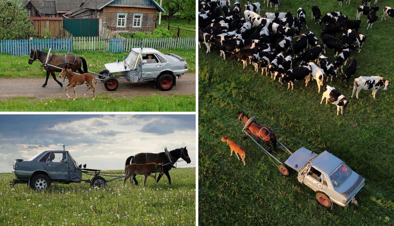 Bjeloruski pastir je prepolovio Audi 80 pa sad vozi na jednu konjsku snagu: 'Sad je Audi 40'