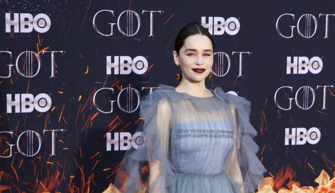 """Emilia Clarke poses at the premiere of the final season of """"Game of Thrones"""" at Radio City Music Hall in New York"""