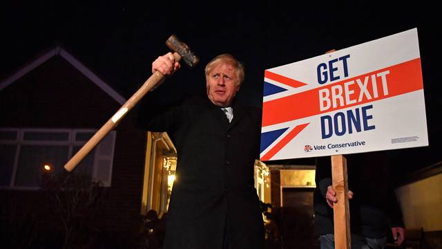 Britain's Prime Minister Boris Johnson campaigns in South Benfleet