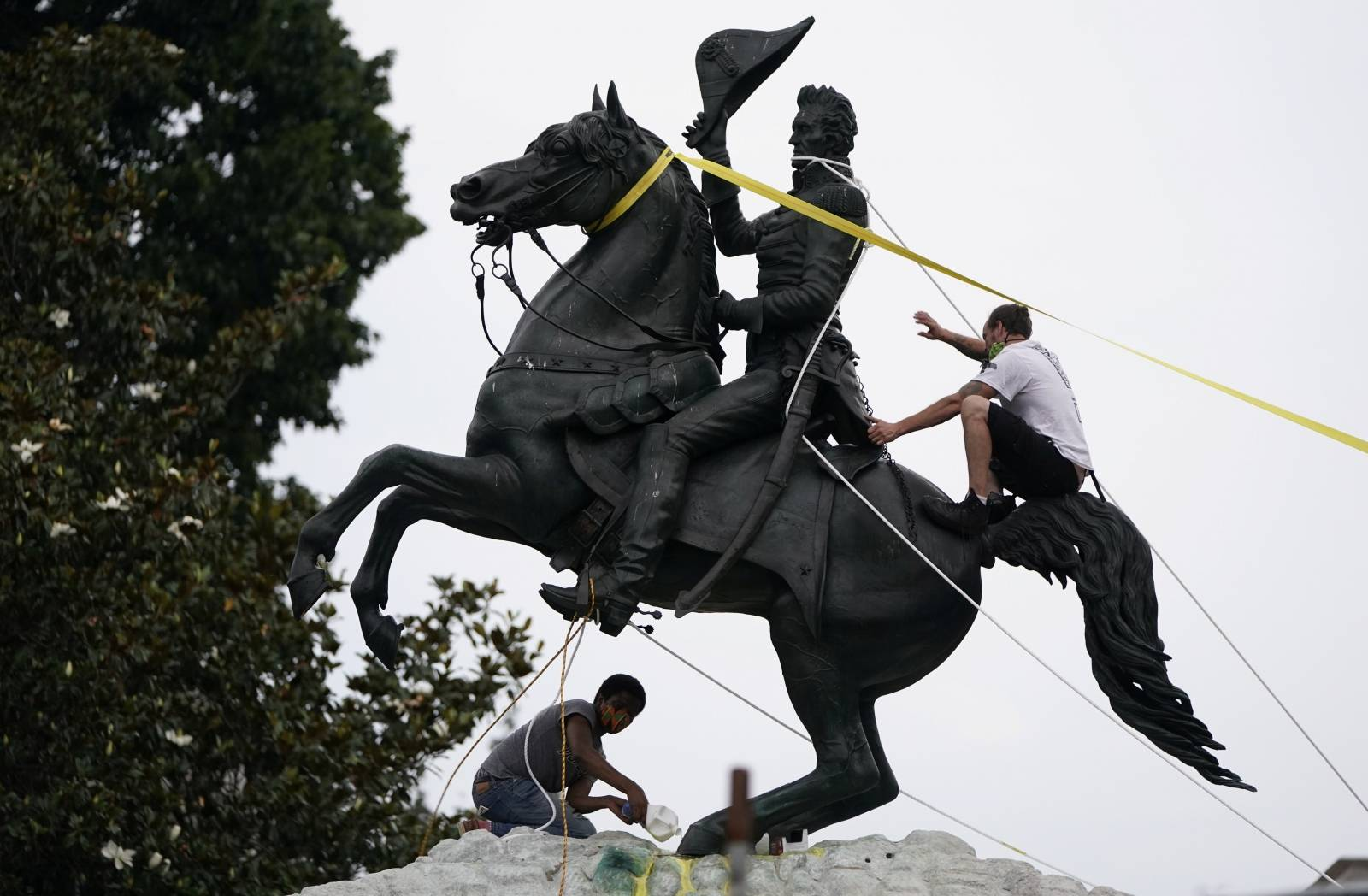 Protestors try to pull down statue of U.S. President Andrew Jackson in front of the White House in an attempt to pull it down  in Washington