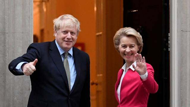 FILE PHOTO: Britain's PM Johnson meets European Commission President von der Leyen in London