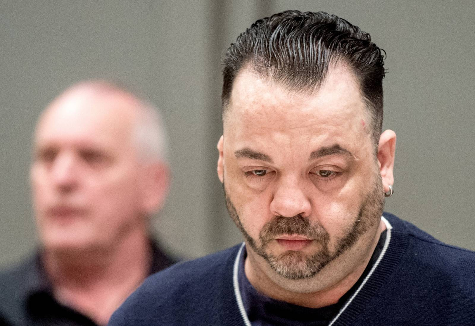 Niels Hoegel, accused of murdering 100 patients at the clinics in Delmenhorst and Oldenburg, attends his trial in Oldenburg