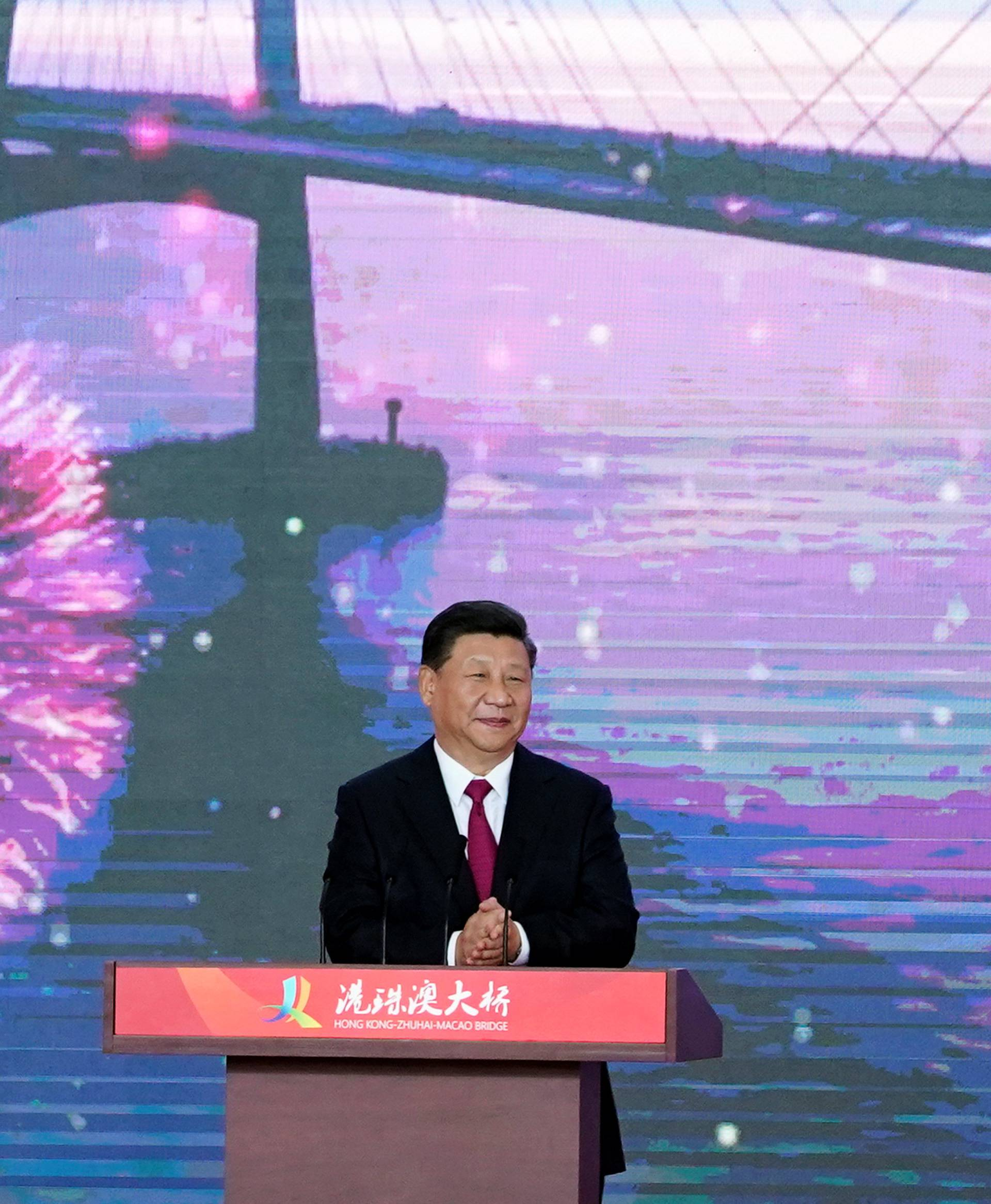 Chinese President Xi Jinping attends the opening ceremony for the Hong Kong-Zhuhai-Macau bridge in Zhuhai