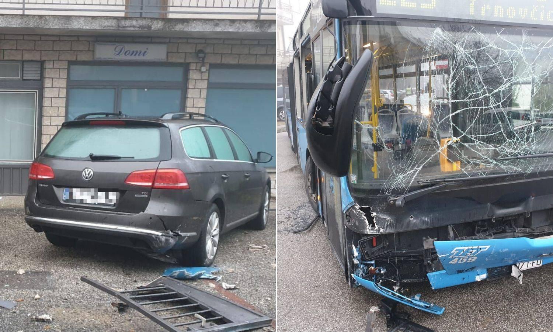 Autobus probio ogradu i udario u auto: Otkazao mu je volan?!