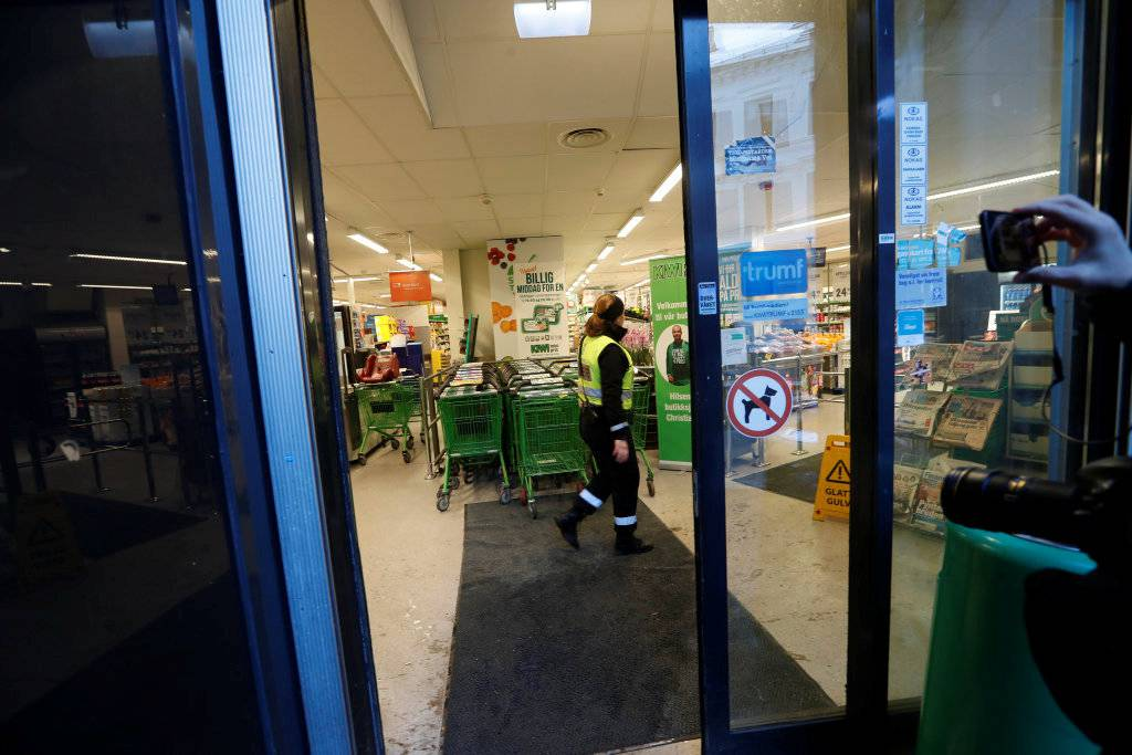 A view of a supermarket where yesterday's knife attack took place, in Oslo