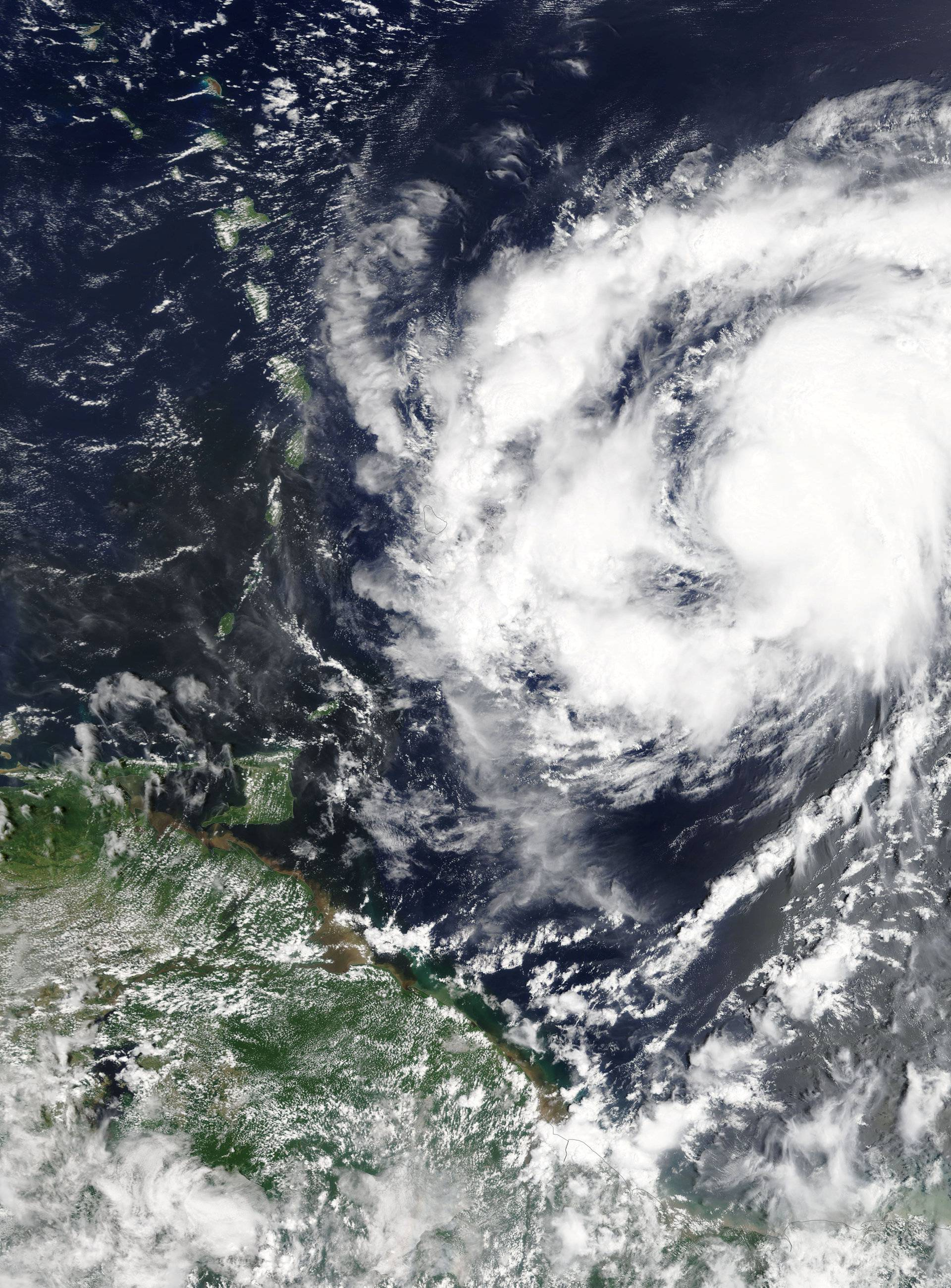 Hurricane Maria is shown in the Atlantic Ocean about 85 miles east of Martinique in this NASA handout satellite photo