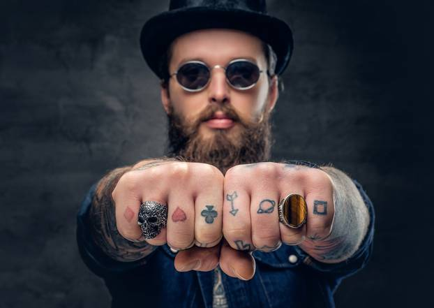 Close-up tattooed hipster