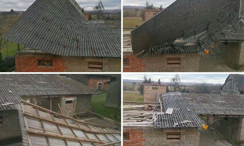 Snimka iz mjesta kod Kutine: 'Strašan vjetar odnio je krov!'
