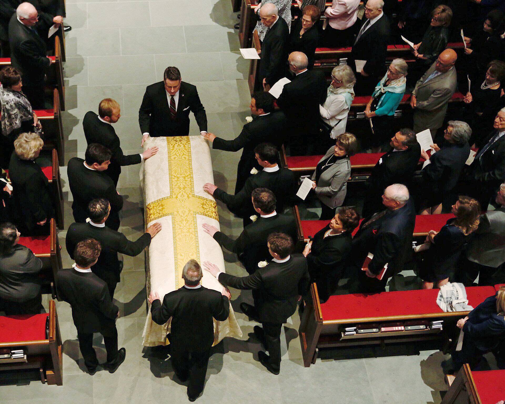 The casket is brought into St. Martin's Episcopal Church during funeral services for former first lady Barbara Bush in Houston