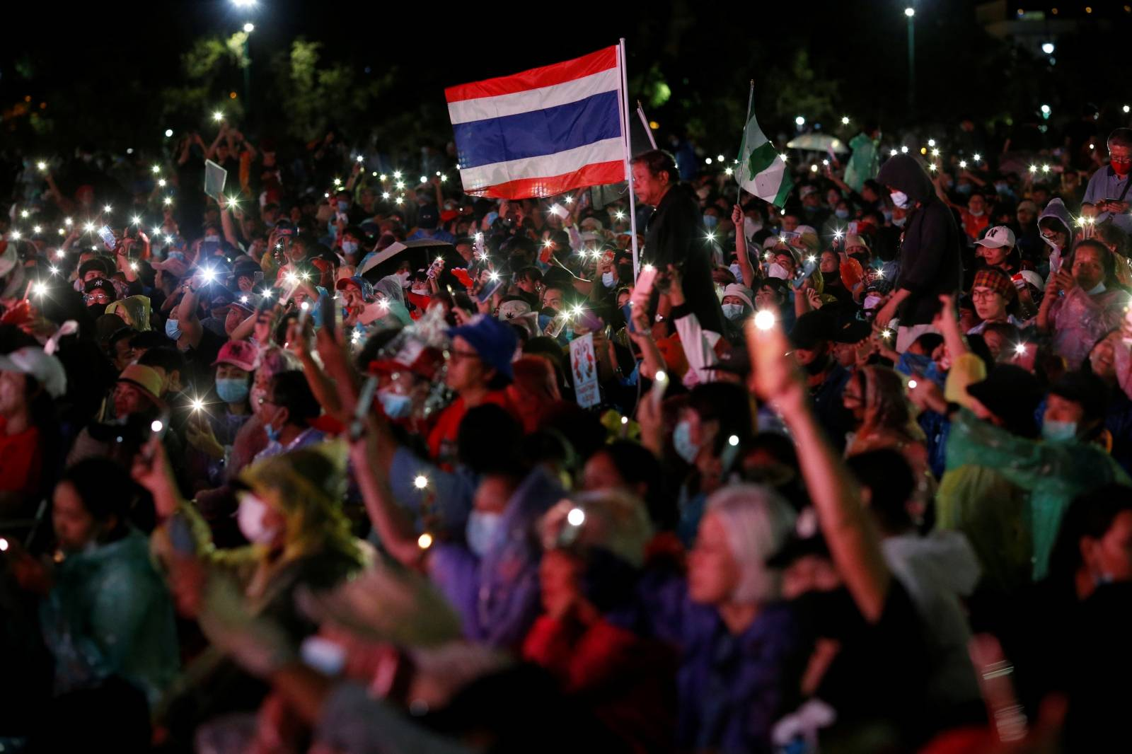 Pro-democracy protesters attend a mass rally in Bangkok