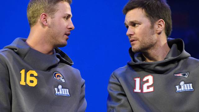 FILE PHOTO: Los Angeles Rams quarterback Jared Goff and New England Patriots quarterback Tom Brady during Opening Night for Super Bowl LIII in Atlanta