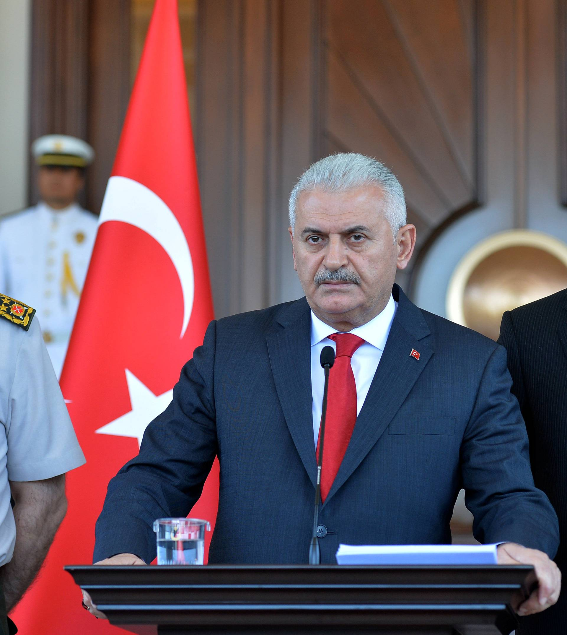 Turkey's Prime Minister Yildirim speaks during a news conference in Ankara